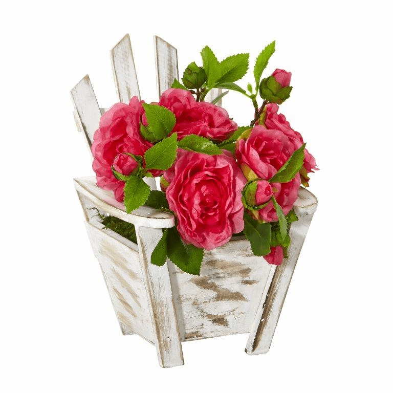 9� Camellia Artificial Arrangement in Chair Planter - Pink