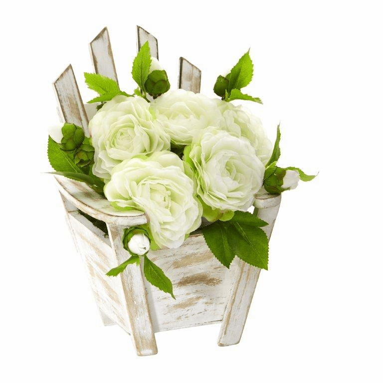 9� Camellia Artificial Arrangement in Chair Planter - White