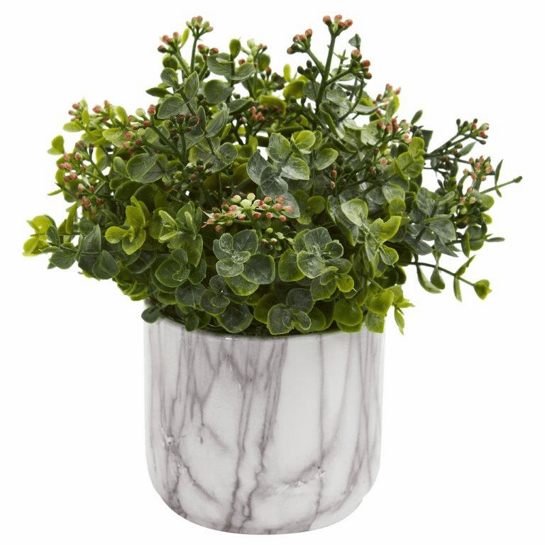 "9"" Eucalyptus Artificial Plant in Marble Finished Vase - Green"