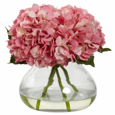 "9"" Large Blooming Hydrangea with Vase"