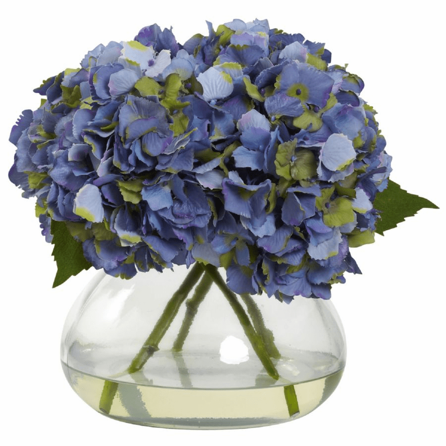 "9"" Large Blooming Hydrangea with Vase in Blue Color"