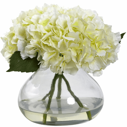 "9"" Large Blooming Hydrangea with Vase in Cream Color"