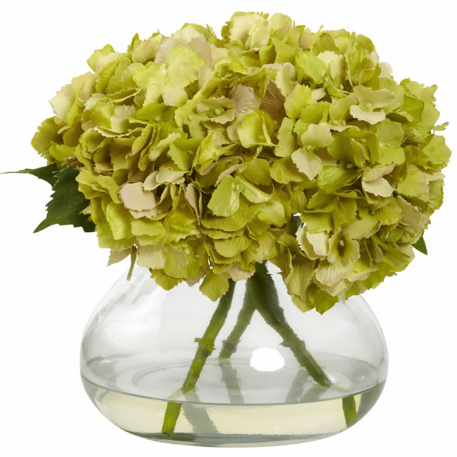"9"" Large Blooming Hydrangea with Vase in Green"
