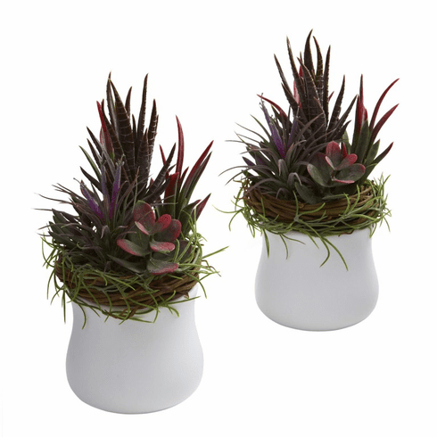 "9"" Mixed Artificial Succulent with White Planter (Set of 2)"