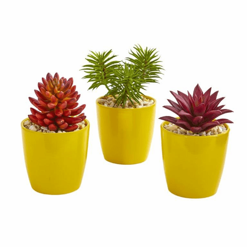 "9"" Mixed Succulent Artificial Plant in Yellow Vase (Set of 3)"