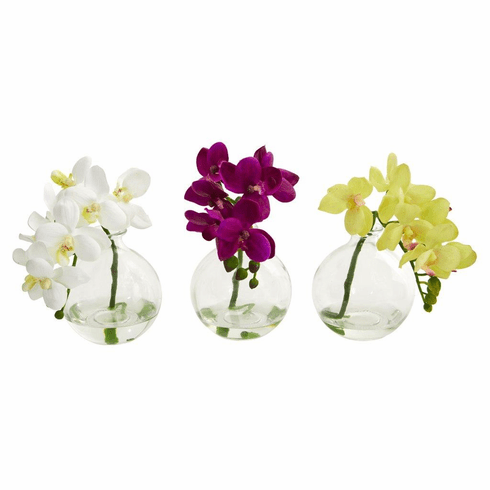 "9"" Phalaenopsis Orchid Artificial Arrangement in Vase (Set of 3)"