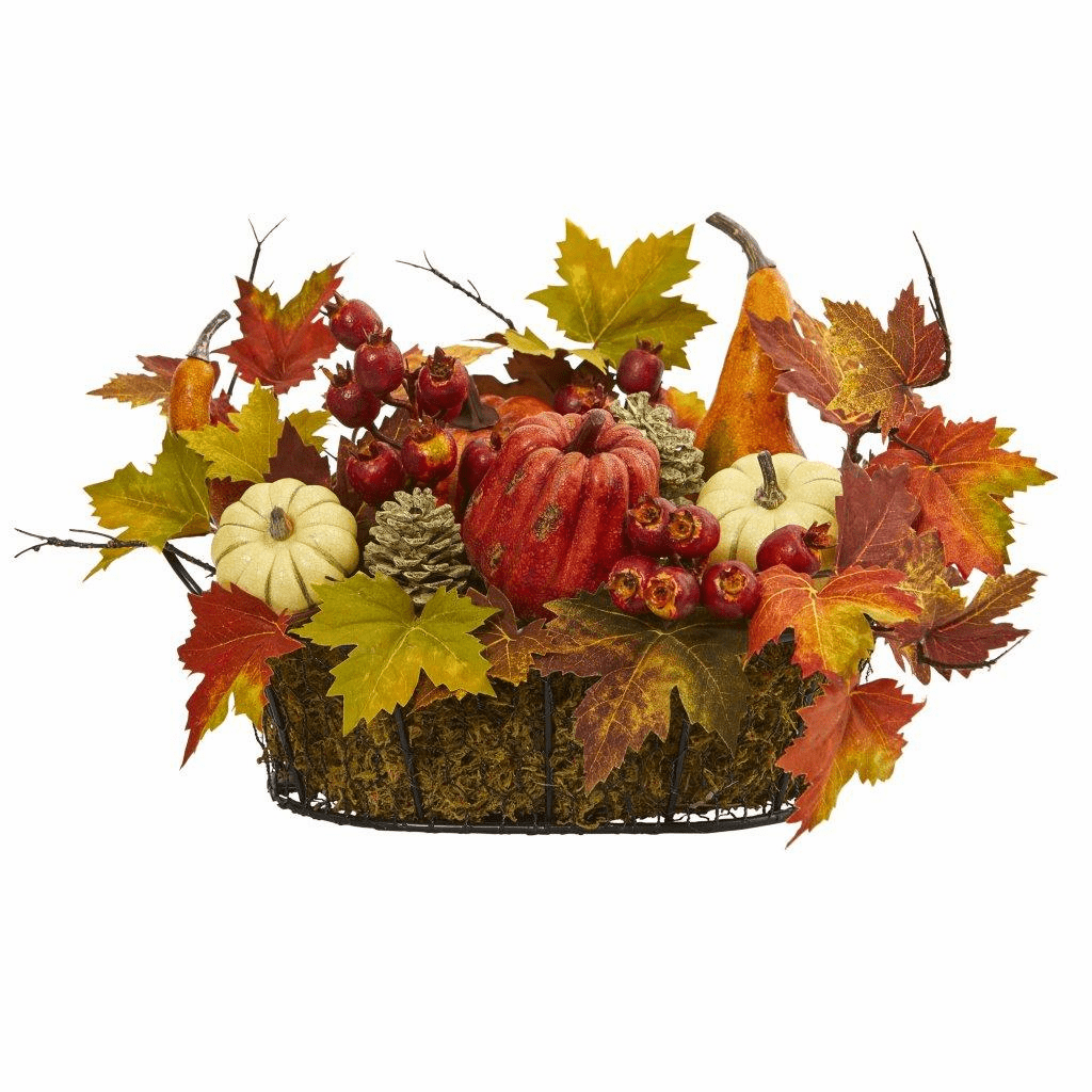"9"" Pumpkin, Gourd, Berry and Maple Leaf Artificial Arrangement - Fall"