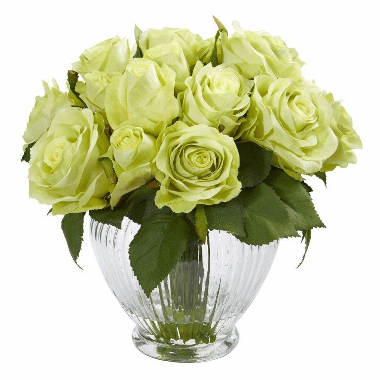 9� Rose Artificial Floral Arrangement in Elegant Glass Vase - Green