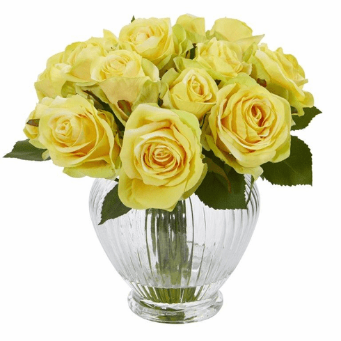 "9"" Rose Artificial Floral Arrangement in Elegant Glass Vase - Yellow"