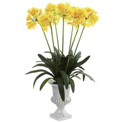 """34"""" African Lily Artificial Flower Arrangement with Urn - Yellow"""