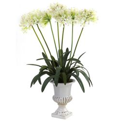 """34"""" African Lily Artificial Flower Arrangement with Urn - White"""