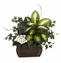 """20"""" African Violet, Dieffenbachia & Ivy with Chest Silk Plant"""