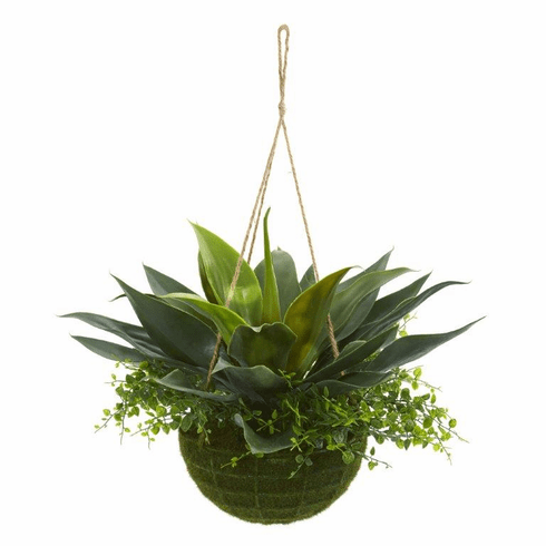 "13"" Agave and Maiden Hair Artificial Plant in Hanging Basket (Indoo/Outdoor"