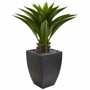 Agave Artificial Plant in Black Planter - N/A