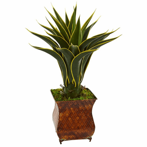 2.5' Agave Artificial Plant in Metal Planter