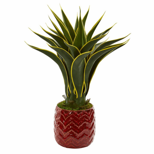 2' Agave Artificial Plant in Red Planter