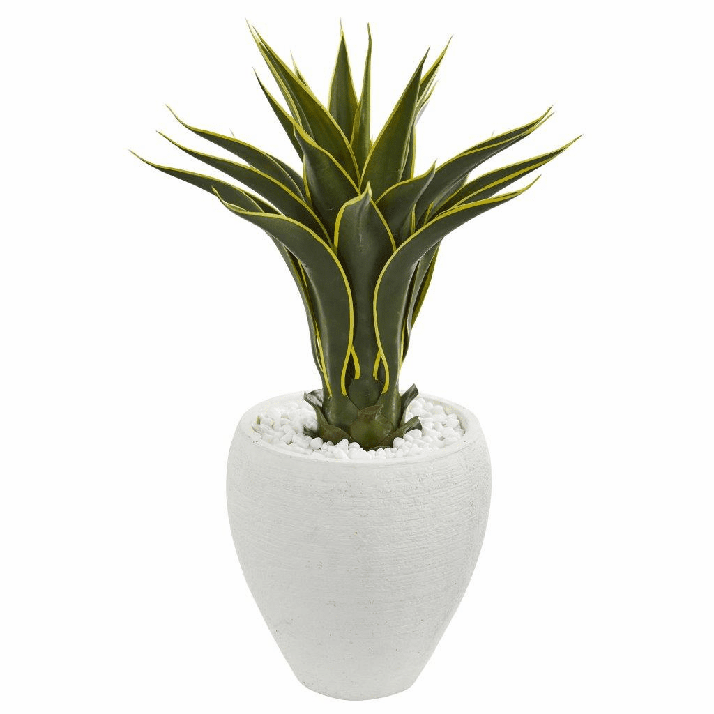 2.5' Agave Artificial Plant in White Planter