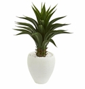 3' Agave Artificial Plant in White Planter