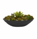 "17"" Agave & Succulent Garden Artificial Plant in Black Planter"