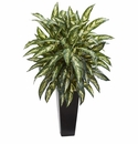 "35"" Aglonema Artificial Plant in Black Planter"
