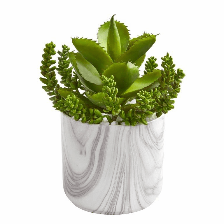 "12"" Aloe and Sedum Succulent Artificial Plant in Marble Finish Vase"
