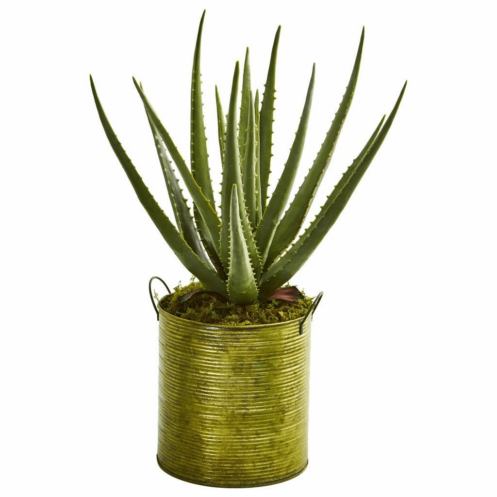 "20"" Aloe Artificial Plant in Green Metal Planter"