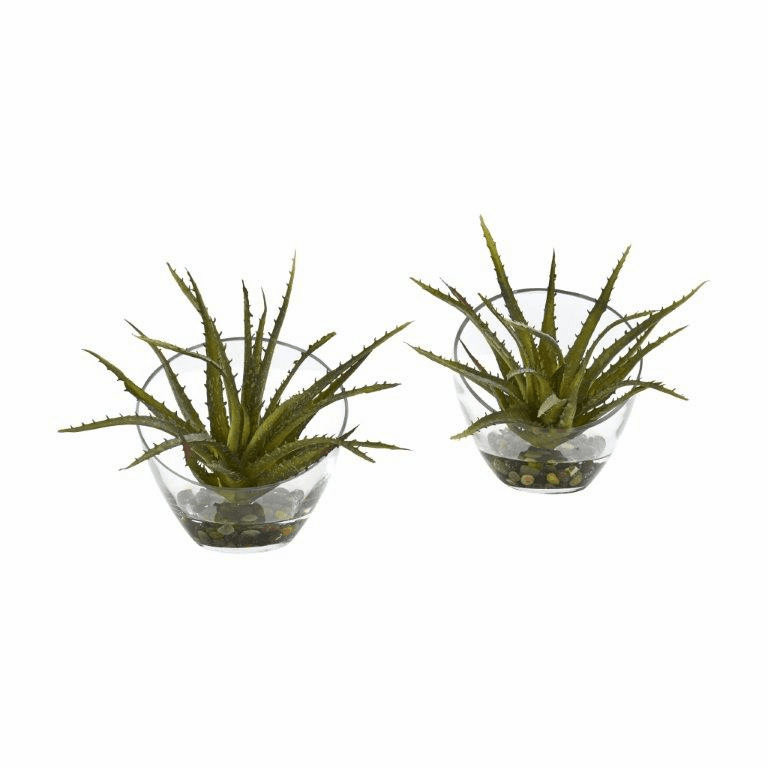 "9"" Aloe Artificial Plant in Slanted Vase (Set of 2)"