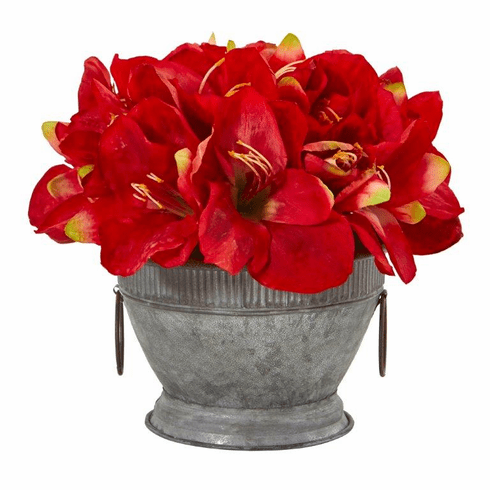 """10"""" Amaryllis Arrangement in Vintage Bowl with Copper Trimming - Red"""