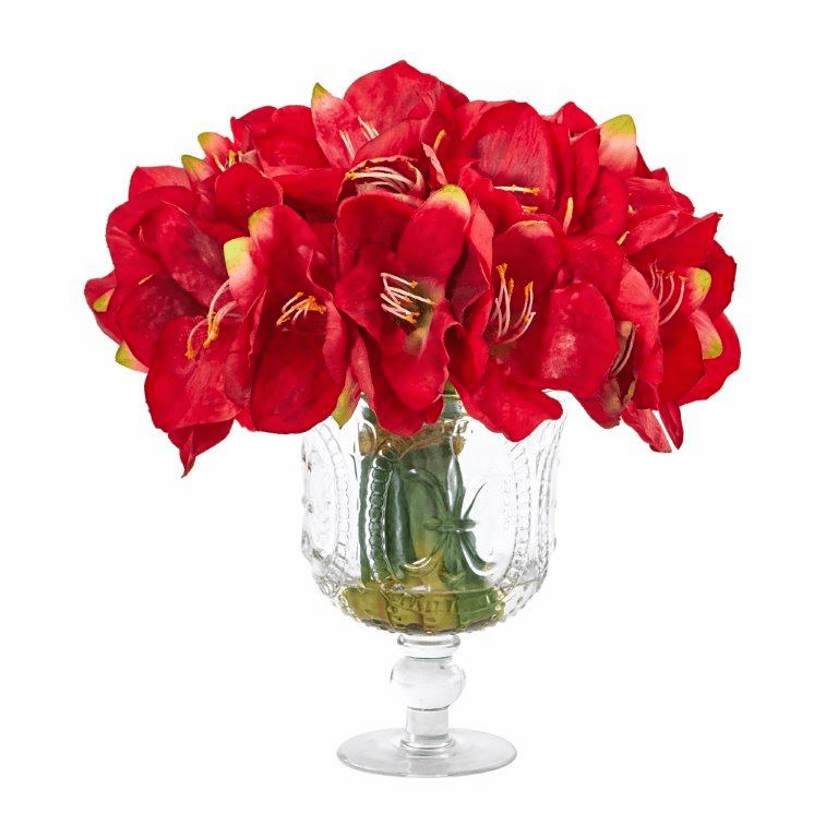 "14"" Amaryllis Bouquet Artificial Arrangement in Royal Vase - Red"