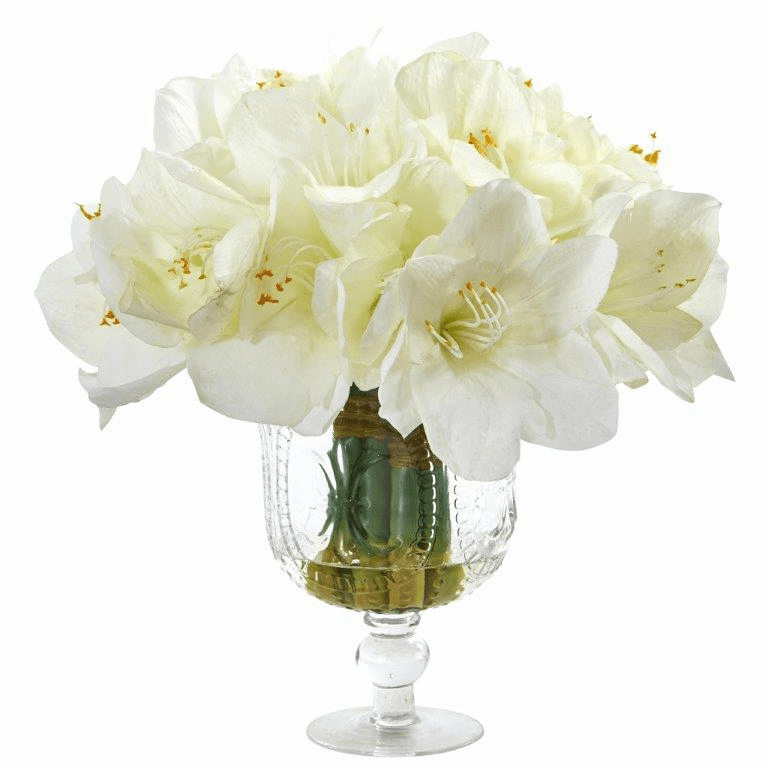 "14"" Amaryllis Bouquet Artificial Arrangement in Royal Vase - White"