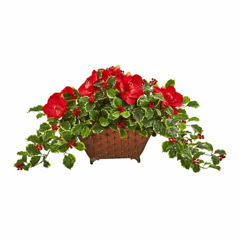 Amaryllis, Holly Leaf with Berries Artificial Arrangement  -