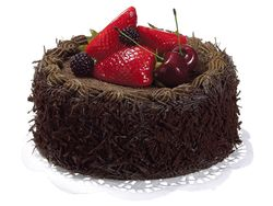 Artificial Chocolate Cake with Berry Topping - Set of 6