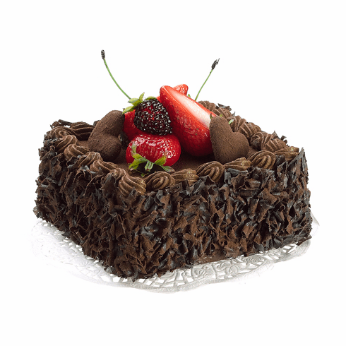 Artificial Chocolate Cake with Strawberry Topping - Set of 6
