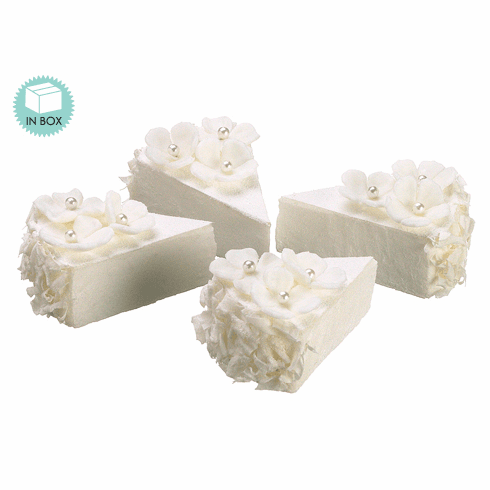Artificial Small Slice Wedding Cake with Flowers (4 ea./box) - 8 Boxes