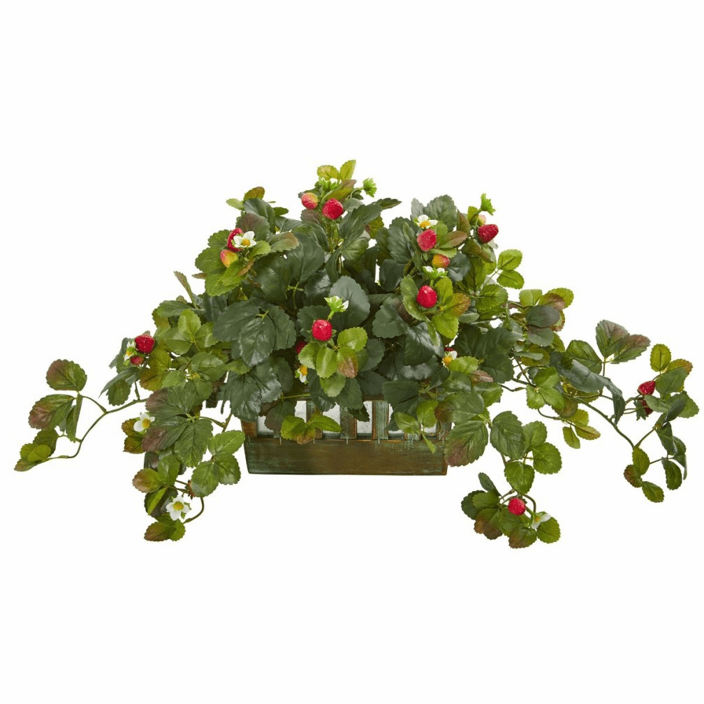 "Artificial Strawberry Arrangement in Decorative Container - 35"" width"
