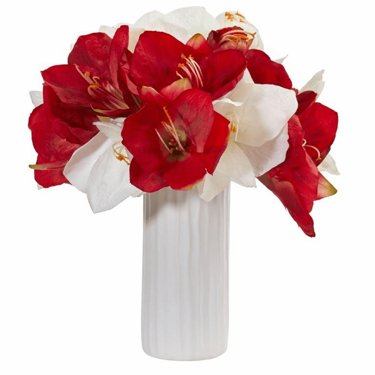 "14"" Assorted Amaryllis Artificial Arrangement in White Vase"