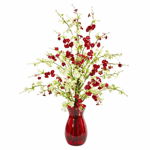 """28"""" Assorted Cherry Blossom Artificial Arrangement in Ruby Vase"""