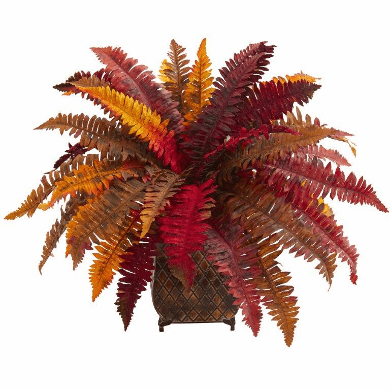 "18"" Autumn Boston Fern Artificial Plant in Metal Planter"