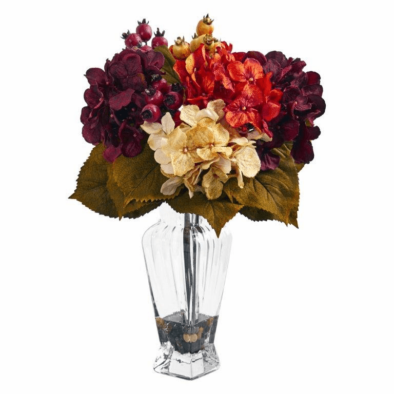 "16"" Autumn Hydrangea Berry Artificial Arrangement in Glass Vase"