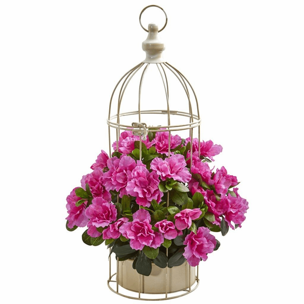 "19"" Azalea Artificial Plant in Decorative Bird Cage"