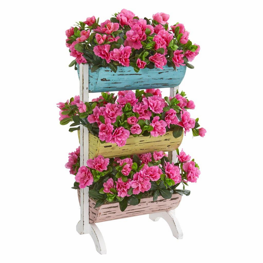 "28"" Azalea Artificial Plant in Farmhouse Stand"