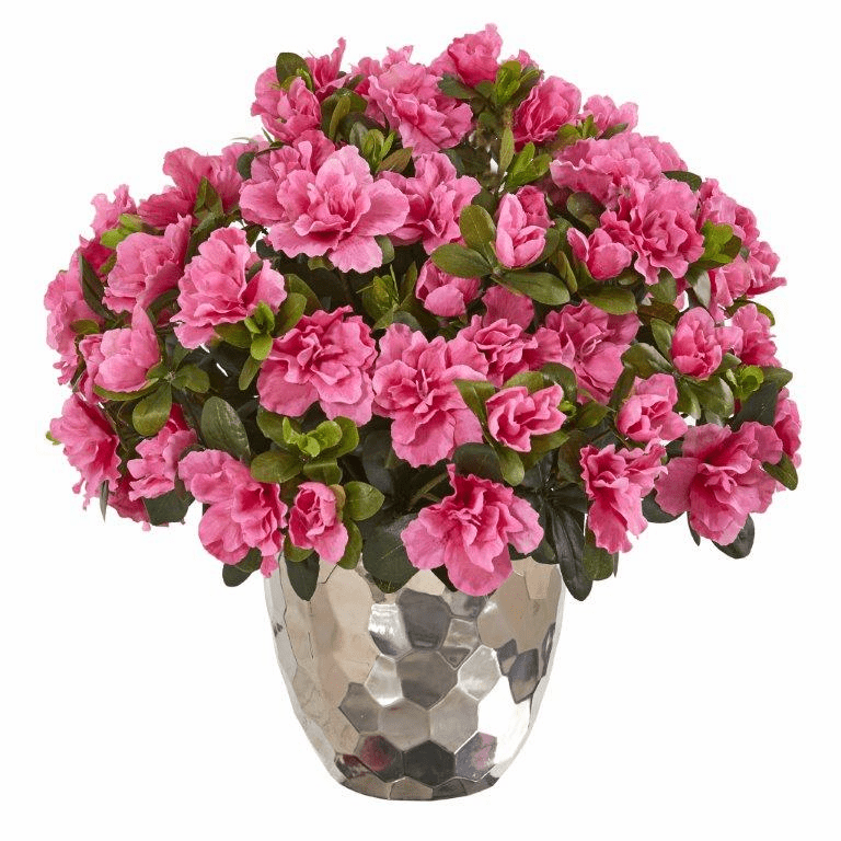 "17"" Azalea Artificial Plant in Silver Planter"