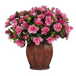 "20"" Artificial Azalea Silk Flower Arrangement with Vase Silk Plant"
