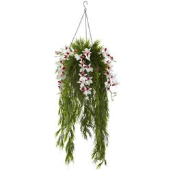 "40"" Artificial Bamboo & Dendrobium Orchid Hanging Bush in Basket - White"