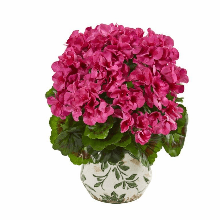 Beauty 12� Geranium Artificial Plant in Vase UV Resistant (Indoor/Outdoor)