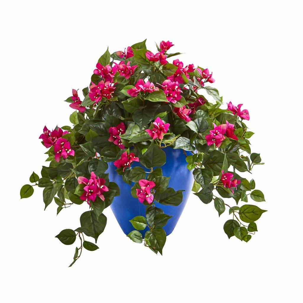 "22"" Beauty Bougainvillea Artificial Plant in Blue Planter"
