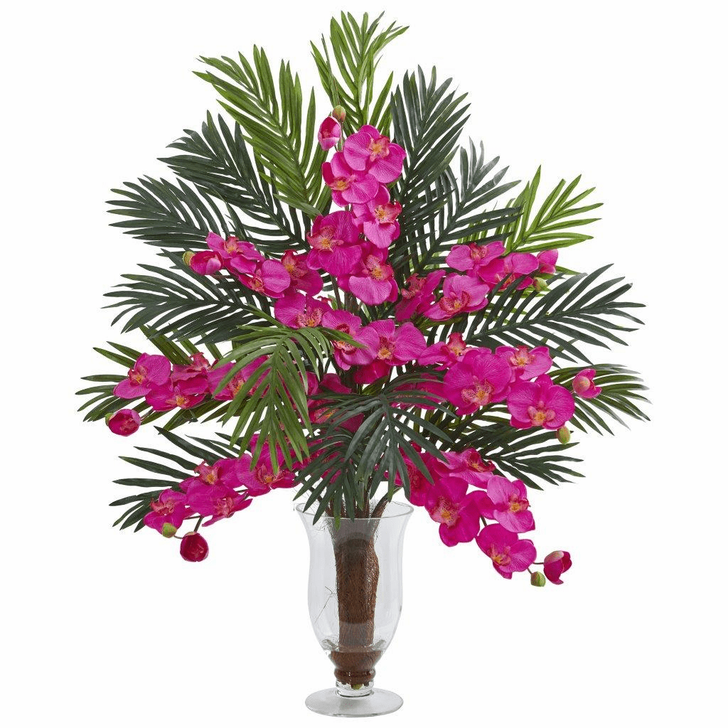"""30"""" Beauty Phalaenopsis Orchid and Areca Palm Artificial Arrangement"""