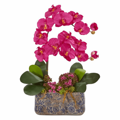 "21"" Beauty Phalaenopsis Orchid Artificial Arrangement in Ceramic Vase"