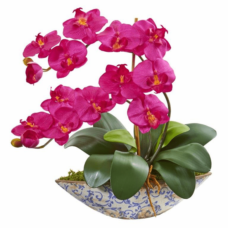 "16"" Beauty Phalaenopsis Orchid Artificial Arrangement in Vase"