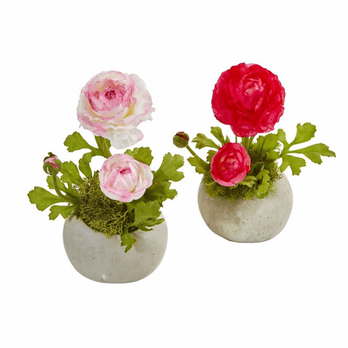 Beauty White Ranunculus Artificial Arrangement (Set of 2)